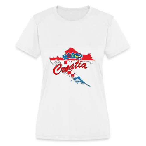 Croatia Football Team Colours T-Shirt Treasure Des - Women's Moisture Wicking Performance T-Shirt