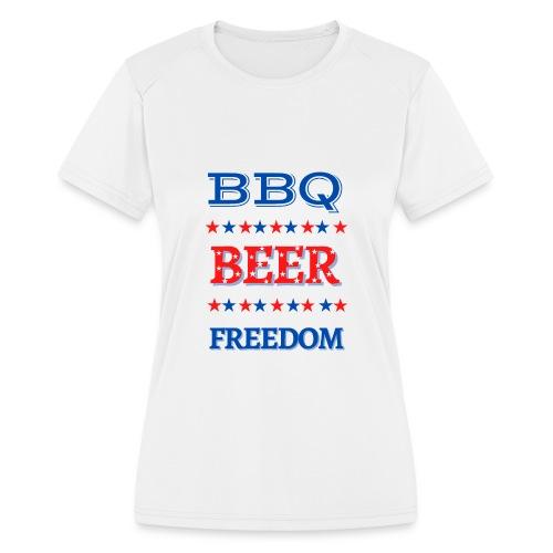 BBQ BEER FREEDOM - Women's Moisture Wicking Performance T-Shirt
