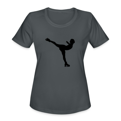 Ice Skating Woman Silhouette - Women's Moisture Wicking Performance T-Shirt