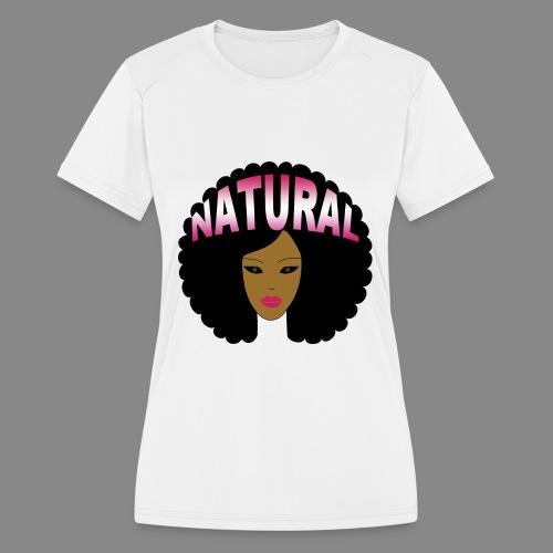 Natural Afro (Pink) - Women's Moisture Wicking Performance T-Shirt