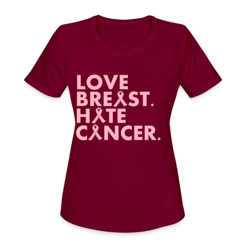 Love Breast. Hate Cancer. Breast Cancer Awareness) - Women's Moisture Wicking Performance T-Shirt