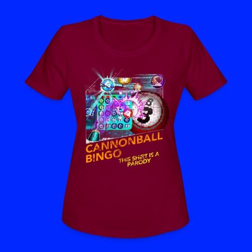 Vintage Cannonball Bingo Box Art Tee - Women's Moisture Wicking Performance T-Shirt