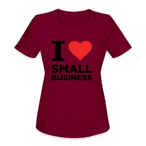 I Heart Small Business (Black & Red) - Women's Moisture Wicking Performance T-Shirt