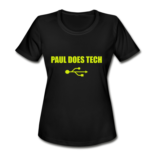 Paul Does Tech Logo Yellow With USB (BS) - Women's Moisture Wicking Performance T-Shirt