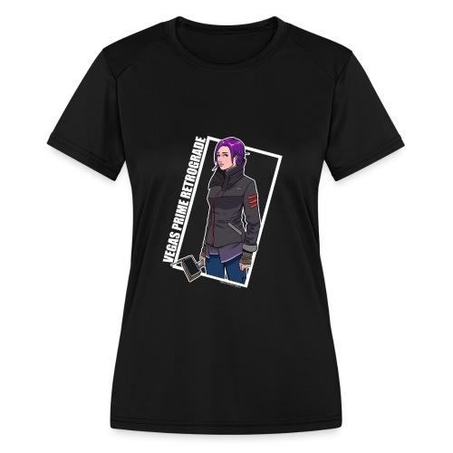 Vegas Prime Retrograde - Clara with White Border - Women's Moisture Wicking Performance T-Shirt