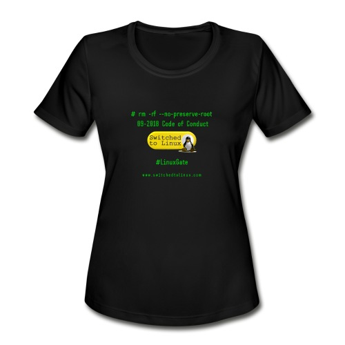rm Linux Code of Conduct - Women's Moisture Wicking Performance T-Shirt