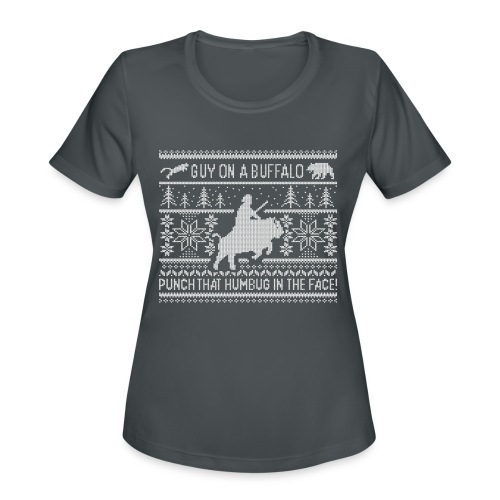 Guy on a Buffalo X-mas 17 - Women's Moisture Wicking Performance T-Shirt