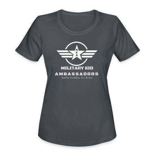 Military Kid Ambassador White - Women's Moisture Wicking Performance T-Shirt