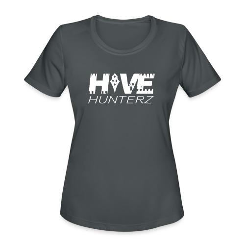 White Hive Hunterz Logo - Women's Moisture Wicking Performance T-Shirt