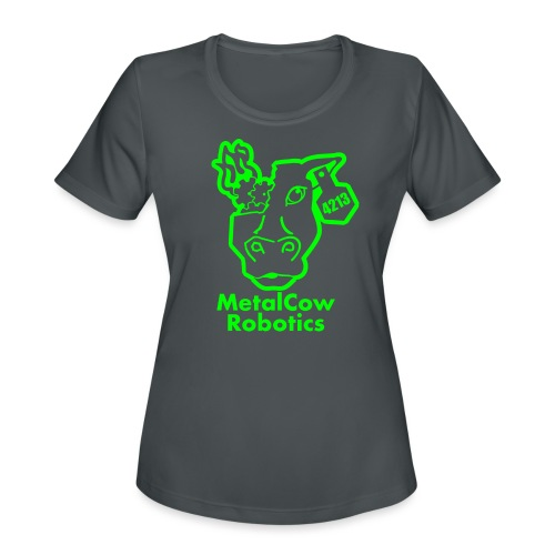 MetalCowLogo GreenOutline - Women's Moisture Wicking Performance T-Shirt
