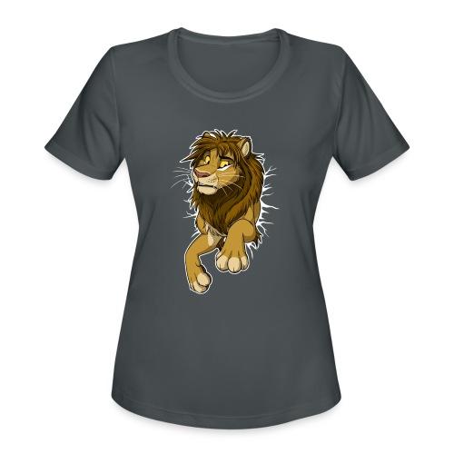STUCK Lion (white cracks) - Women's Moisture Wicking Performance T-Shirt