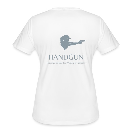 Official HerHandgun Logo with Slogan - Women's Moisture Wicking Performance T-Shirt