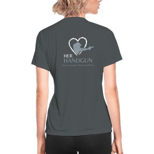 Official HerHandgun Logo with Slogan - Women's Moisture Wicking Performance T-Shirt