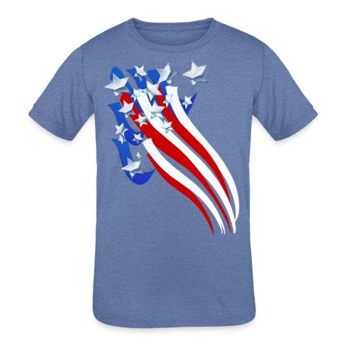 Sweeping Old Glory - Kids' Tri-Blend T-Shirt