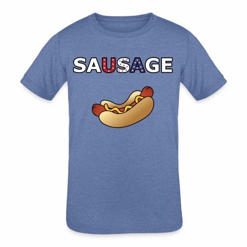 Patriotic BBQ Sausage - Kids' Tri-Blend T-Shirt