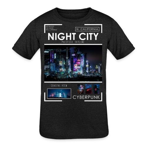 Night City Pacifica Skyline - Kids' Tri-Blend T-Shirt