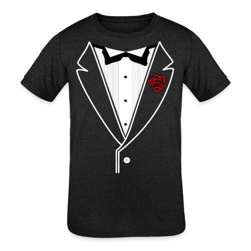 Tuxedo w/White Lapel - Kids' Tri-Blend T-Shirt