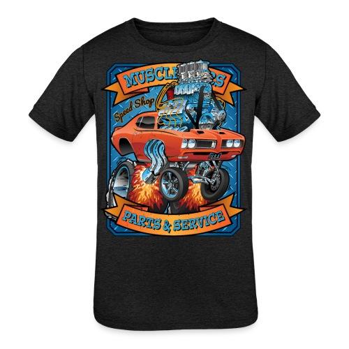 Classic Sixties Muscle Car Parts & Service Cartoon - Kids' Tri-Blend T-Shirt