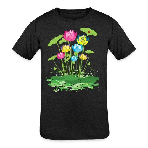 colorful waterlilies flowers - Kids' Tri-Blend T-Shirt