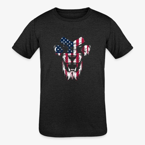 Lovely American Lion USA Flag Silhouette Portrait - Kids' Tri-Blend T-Shirt