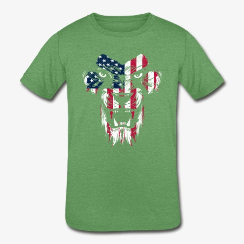 American Flag Lion - Kids' Tri-Blend T-Shirt
