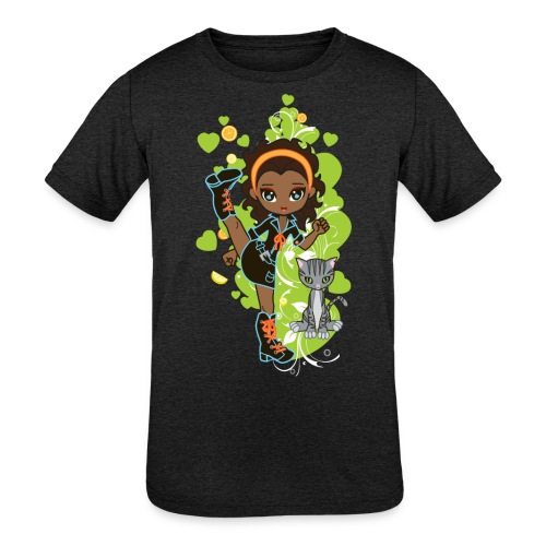 Aisha the African American Chibi Girl - Kids' Tri-Blend T-Shirt