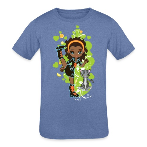 Aisha the African American Chibi Girl - Kids' Tri-Blend T-Shirt