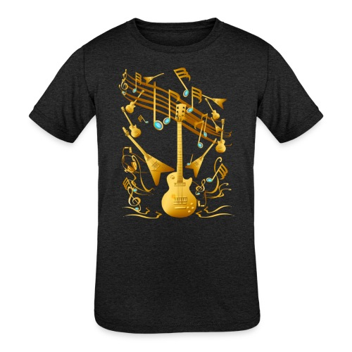 Gold Guitar Party - Kids' Tri-Blend T-Shirt