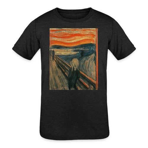 The Scream (Textured) by Edvard Munch - Kids' Tri-Blend T-Shirt