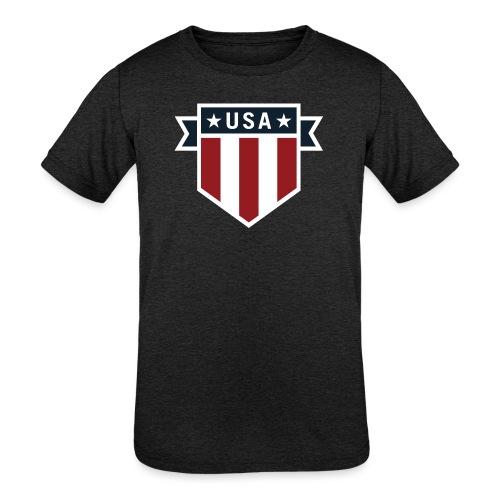 USA Pride Red White and Blue Patriotic Shield - Kids' Tri-Blend T-Shirt