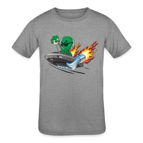UFO Alien Hot Rod Cartoon Illustration - Kids' Tri-Blend T-Shirt