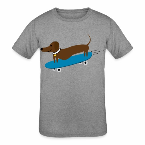 Dachshund Skateboarding - Kids' Tri-Blend T-Shirt
