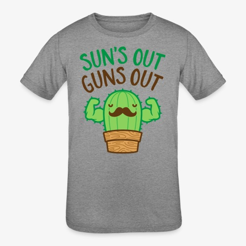 Sun's Out Guns Out Macho Cactus - Kids' Tri-Blend T-Shirt