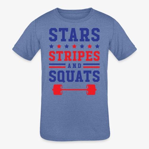 Stars, Stripes And Squats - Kids' Tri-Blend T-Shirt