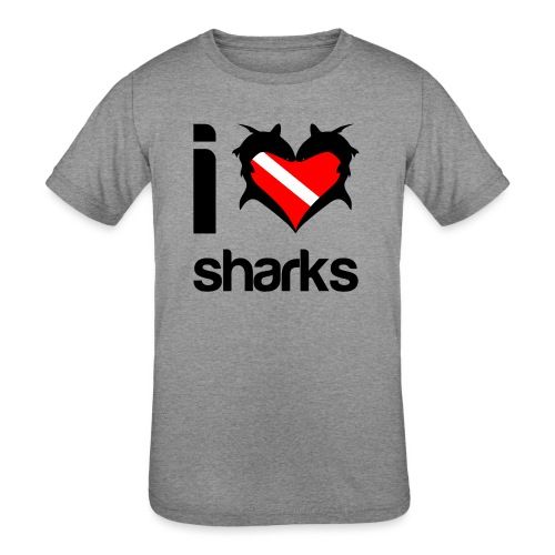 I Love Sharks - Kids' Tri-Blend T-Shirt