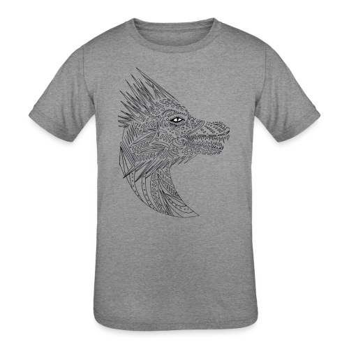 black art deco dragon head - Kids' Tri-Blend T-Shirt