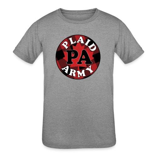 plaid army round - Kids' Tri-Blend T-Shirt