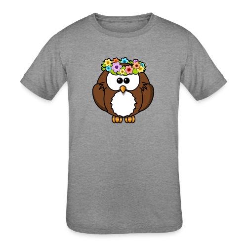 Owl With Flowers On Head T-Shirt - Kids' Tri-Blend T-Shirt