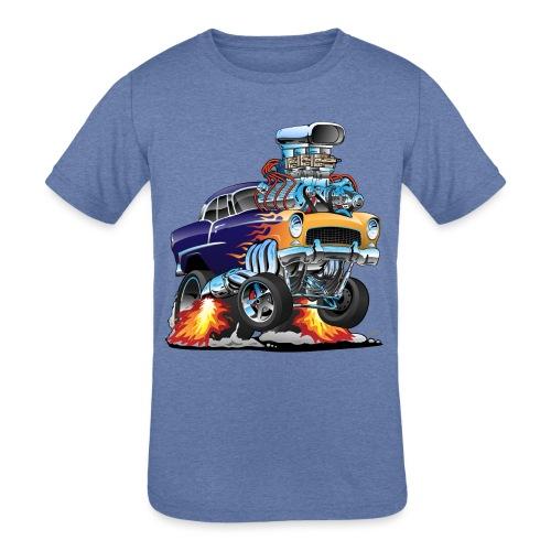 Classic Fifties Hot Rod Muscle Car Cartoon - Kids' Tri-Blend T-Shirt