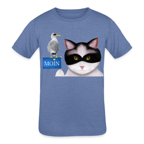 The masked Cat says MOIN - Kids' Tri-Blend T-Shirt