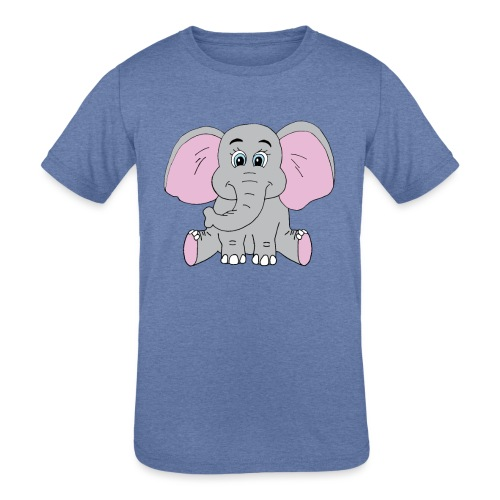 Cute Baby Elephant - Kids' Tri-Blend T-Shirt