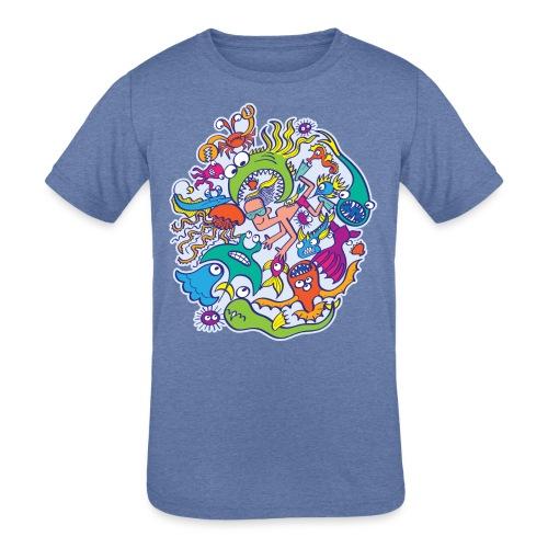Summer swimming with weird dangerous sea creatures - Kids' Tri-Blend T-Shirt