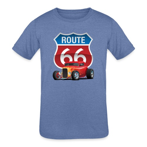 Route 66 Sign with Classic American Red Hotrod - Kids' Tri-Blend T-Shirt