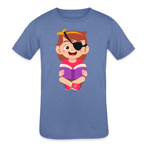 Little girl with eye patch - Kids' Tri-Blend T-Shirt