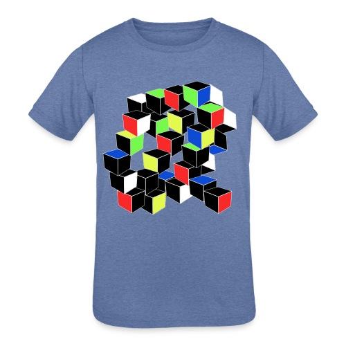 Optical Illusion Shirt - Cubes in 6 colors- Cubist - Kids' Tri-Blend T-Shirt