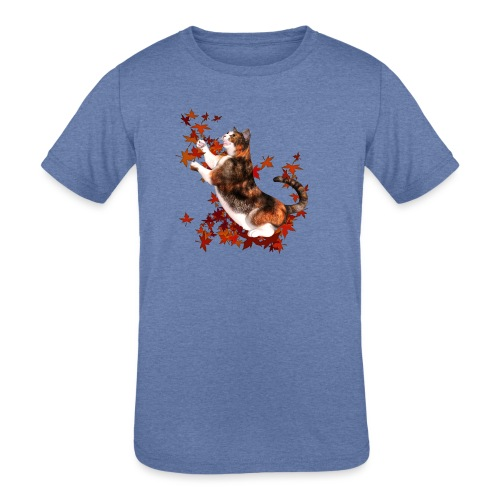 Autumn Cat - cat playing with autumn leaves - Kids' Tri-Blend T-Shirt