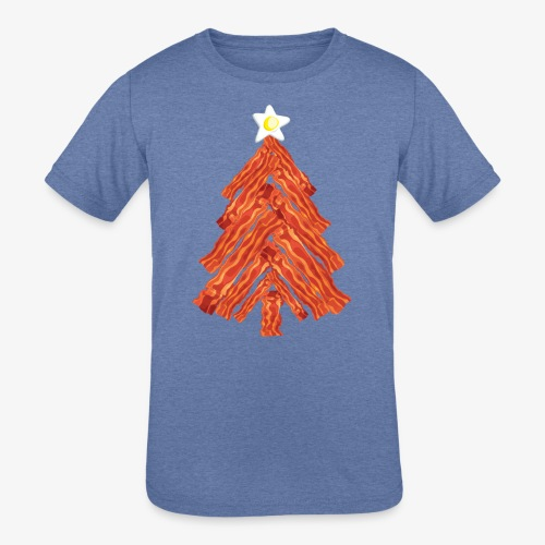 Funny Bacon and Egg Christmas Tree - Kids' Tri-Blend T-Shirt