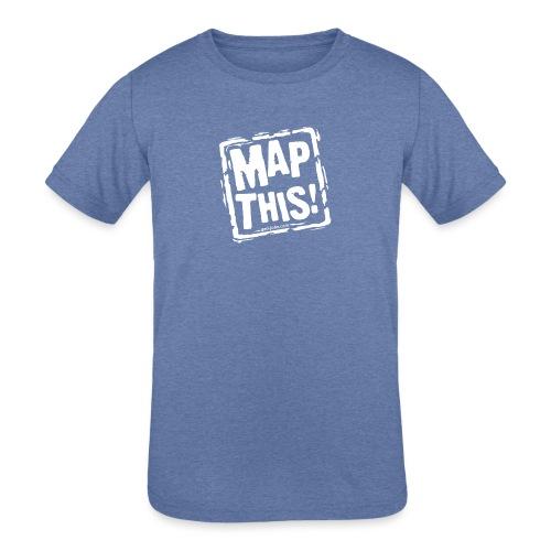MapThis! White Stamp Logo - Kids' Tri-Blend T-Shirt