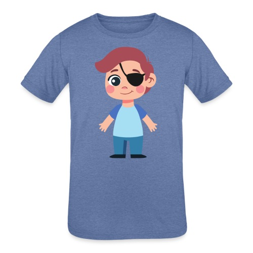 Boy with eye patch - Kids' Tri-Blend T-Shirt