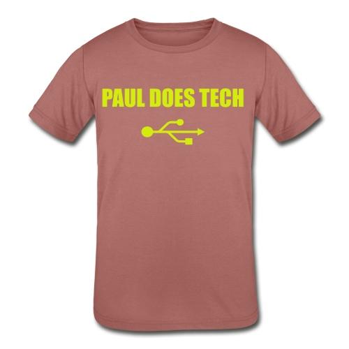 Paul Does Tech Yellow Logo With USB (MERCH) - Kids' Tri-Blend T-Shirt